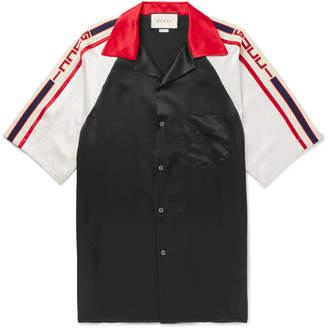 Gucci Camp-Collar Webbing-Trimmed Satin Shirt - Men - Black