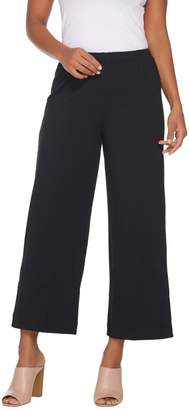 Joan Rivers Classics Collection Joan Rivers Petite Length Wide Leg Pull-on Cropped Knit Pants