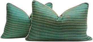 One Kings Lane Vintage Mantis Bengal Silk Kantha Pillows - Set of 2