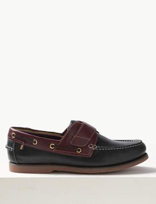 Marks and Spencer Leather Riptape Boat Shoes with Freshfeet