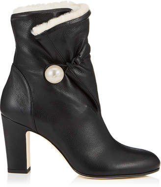 Jimmy Choo BETHANIE 85 Black Grainy Leather Booties with Natural Shearling Lining