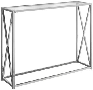 """Monarch Specialties ACCENT TABLE - 42""""L / CHROME METAL WITH TEMPERED GLASS"""