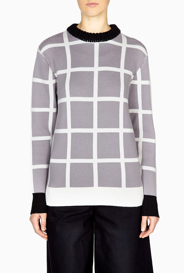 J.W.Anderson Grey Checked Grid Ribbed Neck Sweater
