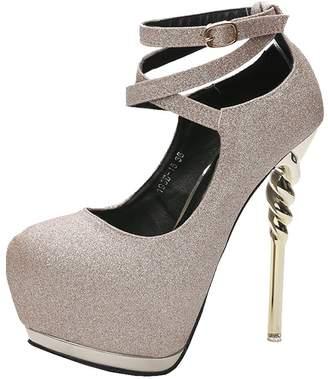 fereshte Womens Fashion Pointed-Toe Stiletto Super High Heels -Sexy Cross Strap Buckle Platform Pumps for Wedding Party Club