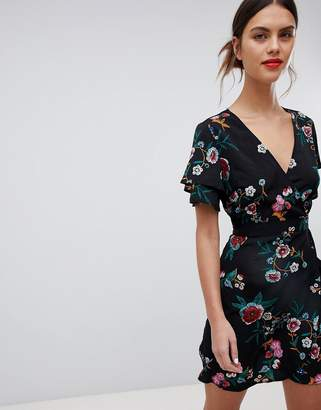 Liquorish Floral Print Wrap Dress With Short Sleeves