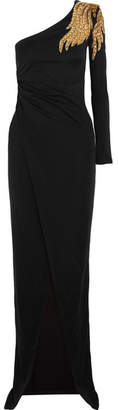 Embellished One-shoulder Stretch-jersey Gown - Black