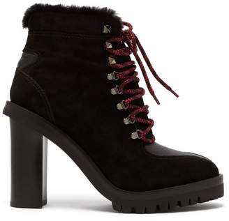 Valentino Shearling Lined Suede Boots - Womens - Black
