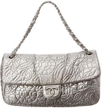 Chanel Limited Edition Silver Metallic Leather Jumbo Single Flap Shoulder Bag
