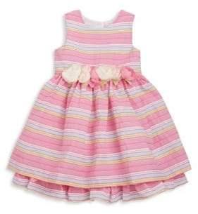 Toddler's & Little Girl's Rosette-Trimmed Textured Stripe Fit-&-Flare Dress