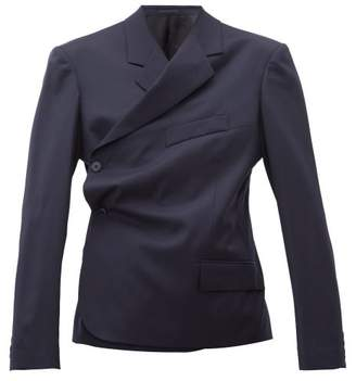 Martine Rose Double Breasted Wrap Wool Twill Blazer - Womens - Navy