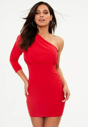 Missguided Red Pleated One Shoulder Bodycon Dress