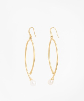 Brooks Brothers Freshwater Pearl Gold-Plated Long Drop Earrings