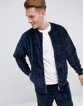 Asos DESIGN Bomber Jacket In Quilted Puffer Velour