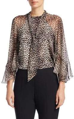 Elie Tahari Matilda Animal Print Silk Blouse