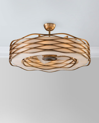 John-Richard Collection John Richard Collection Ribbons of Gold 12-Light Pendant with Fan