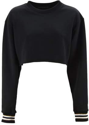 Alexandre Vauthier Black Cotton Cropped Sweatshirt.