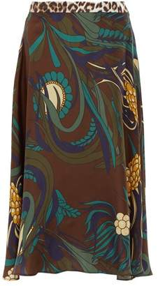 La Prestic Ouiston Floral Print Silk Twill Midi Skirt - Womens - Brown Multi