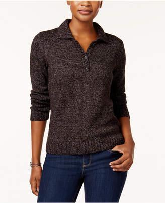Karen Scott Petite Point-Collar Marled Sweater, Created for Macy's