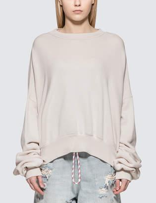 Unravel Project Terry Crewneck Open Back Sweatshirt