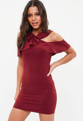Missguided Burgundy Crepe Frill Cold Shoulder Bodycon Dress