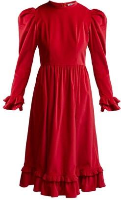 Batsheva Ruffle Velvet Prairie Midi Dress - Womens - Red