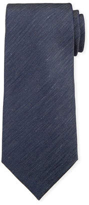 Ermenegildo Zegna Two-Tone Chevron Silk Tie, Navy/White
