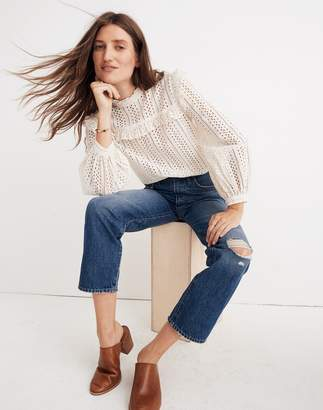 Madewell Classic Straight Jeans in Jade Wash: Knee-Rip Edition