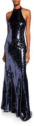 Sachin + Babi Eva Sequin Open-Back Halter Gown