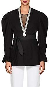BLINDNESS Women's Embellished Cotton Puff-Sleeve Jacket - Black