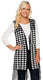 Women with Control Attitudes by Renee Houndstooth Vest withFringe Detail
