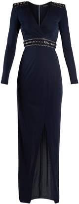 Balmain V-neck eyelet-embellished jersey maxi dress