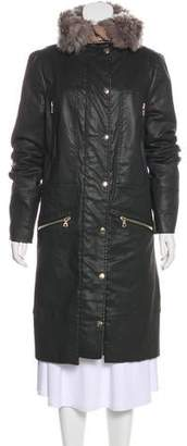 J Brand Shearling-Trimmed Knee-Length Coat