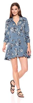 Chelsea & Theodore Women's Long Sleeve Button Front Tunic with Peplum Detail