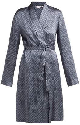 Derek Rose Brindisi 37 Silk Charmeuse Dressing Gown - Womens - Purple Multi