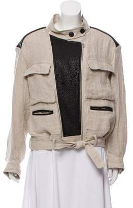 IRO Leather-Trimmed Lightweight Jacket