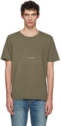 Saint Laurent Khaki Rive Gauche Logo T-Shirt