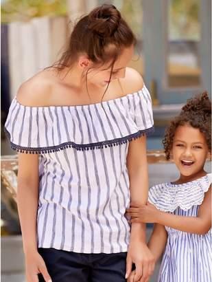 M&Co Lace trim stripe bardot top