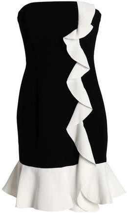 Strapless Ruffle-Trimmed Two-Tone Crepe Mini Dress