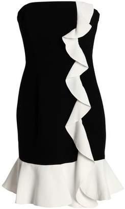 Rachel Zoe Strapless Ruffle-Trimmed Two-Tone Crepe Mini Dress
