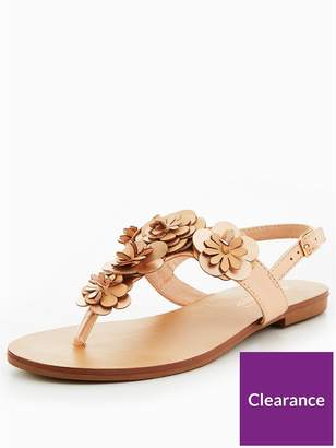 Head Over Heels Lizza 3D Floral Flat Sandal - Nude