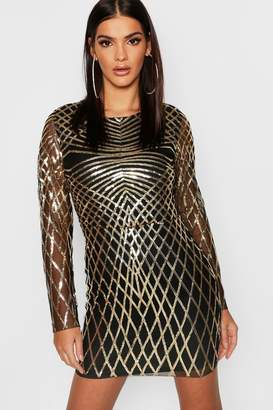 boohoo Sequin Mesh Long Sleeve Bodycon Dress