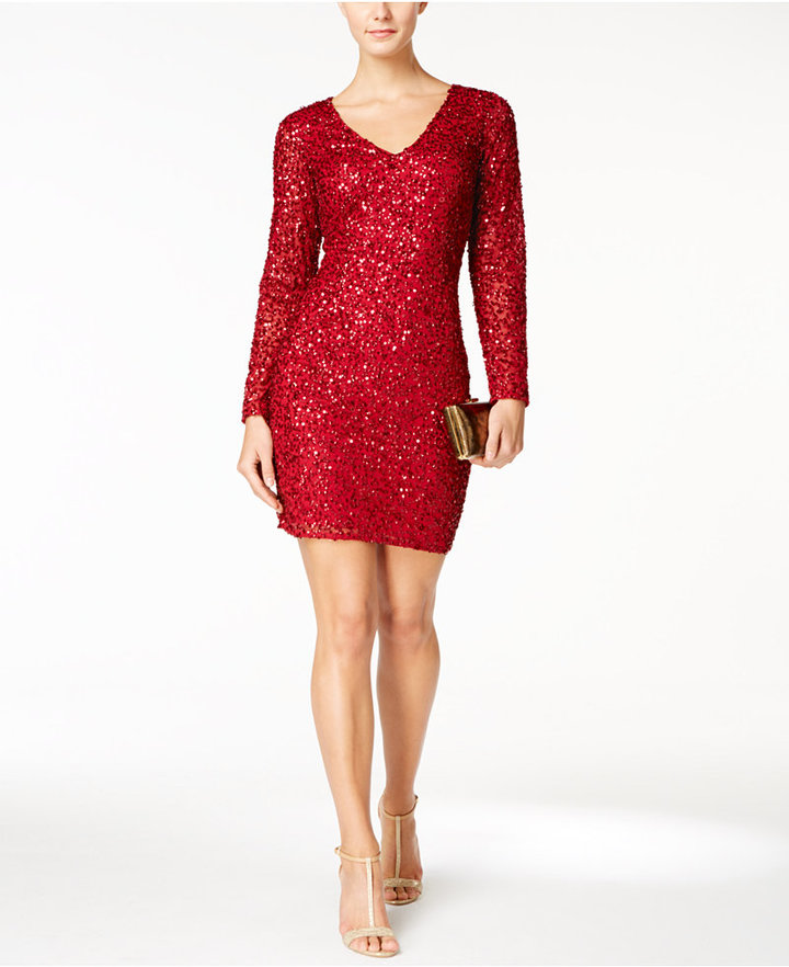 Adrianna Papell Adrianna Papell V-Neck Beaded Cocktail Dress