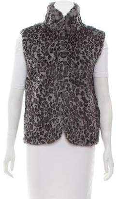 Adrienne Landau Printed Rabbit Fur Vest