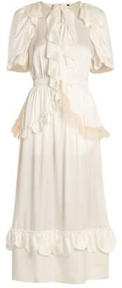 Simone Rocha Ruffle-trimmed tie-waist silk dress