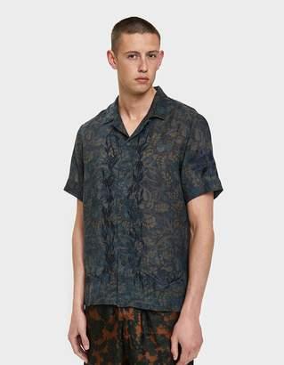 Dries Van Noten Embroidered Twill Shirt in Navy