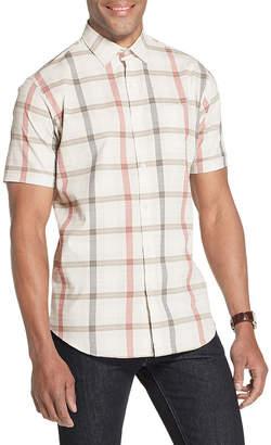 Van Heusen Air Textured Woven Mens Short Sleeve Moisture Wicking Plaid Button-Front Shirt