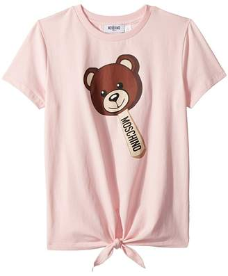 Moschino Kids - Short Sleeve Teddy Bear Graphic T-Shirt w/ Front Knot