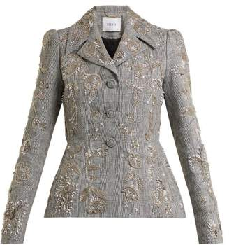 Erdem Galice bead-embellished checked linen jacket