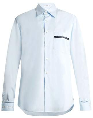 Blouse - George Lace Trimmed Poplin Shirt - Womens - Light Blue