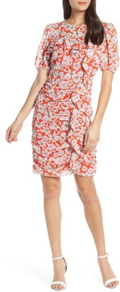 Chelsea28 Floral Print Ruched Sheath Dress